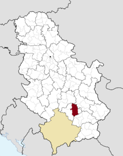 Location of the city of Prokuplje within Serbia