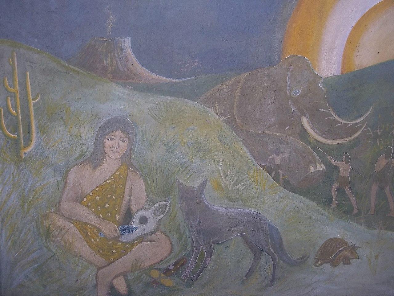 File mural de la prehistoria en tequixquiac secundaria for Mural de la prehistoria