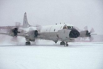 VP-11 - VP-11 P-3C in snow at NAS Brunswick in December 1991