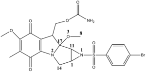 Tetrahedral carbonyl addition compound - N-brosylmitomycin A
