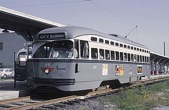 PCC streetcar - Newark City Subway PCC streetcar in 1965. The last of these cars were retired in 2001 for Newark.
