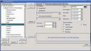 Nvu - Nvu CSS editor