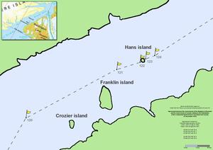 Zentraler Abschnitt des Kennedy-Kanals; links oben: Karte über die gesamte Länge des Kennedy-Kanals