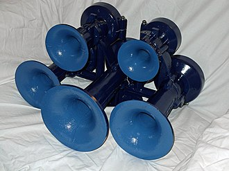 Train horn - Train horns are made of multiple horn units called chimes which produce different notes; sounded together they make a chord.  The Nathan model M5 pictured is a 5 chime horn.
