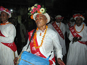 Newa music - Naykhin musicians lead the chariot procession of Kumari Jatra in Kathmandu.