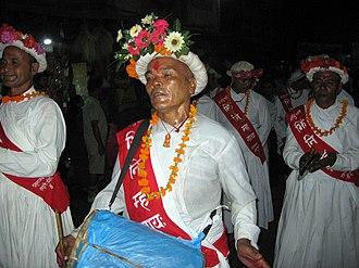 Newa music - Naykhin musicians lead the chariot procession of Kumari Jatra in Kathmandu.