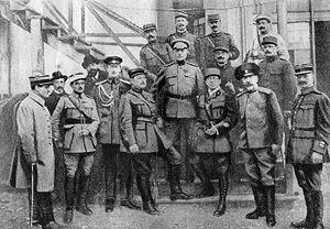 Tovmas Nazarbekian - Nazarbekian (center) with high-ranking army officers.