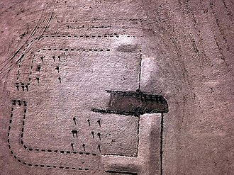 Bo'ness - Near infra-red kite aerial photo of Kinneil Roman Fortlet, Falkirk.