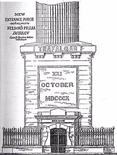 Artwork of the pedestal for the Pillar, showing the Trafalgar inscription, with the architectural design for the new porch and railings