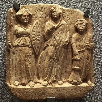Religion in pre-Islamic Arabia - Bas-relief: Nemesis, al-Lat and the dedicator. Palmyrene, 2nd-3rd century AD.