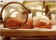 An infant in a neonatal intensive care unit