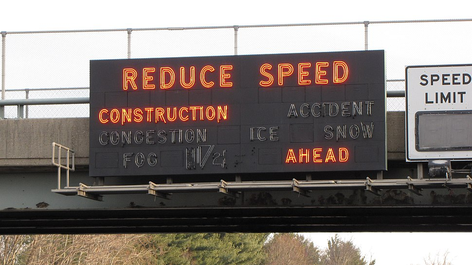 New Jersey Turnpike Reduce Speed sign