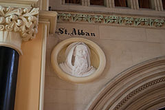 New Ross Church of St. Mary and St. Michael Nave West End Relief of Saint Abban 2012 09 04.jpg