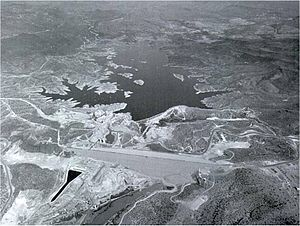 New Waddell Dam - The New Waddell Dam in 1992 with Old Waddell Dam in background