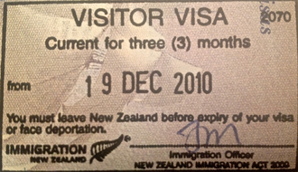 Visa policy of New Zealand - New Zealand entry stamp – visitor visa