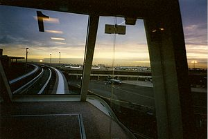 AirTrain Newark - View from the front car of the train, 1997