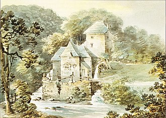 "Newnham (Old) - ""Nuneham Mills"", one of three 1797 watercolours by Rev. John Swete (d.1821) of the mill attached to the manor of Newnham. Devon Record Office 564M/F13/65"