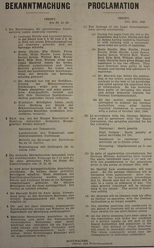 Ambrose Sherwill - German proclamation of measures against Sherwill, Nicolle, Symes and others following Operation Ambassador