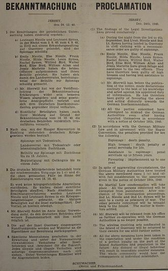 Royal Guernsey Militia - German proclamation of measures against Hubert Nicolle, James Symes, Ambrose Sherwill, and others following Operation Ambassador