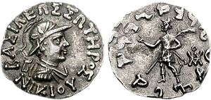 Nicias (Indo-Greek king) - Coin of Nicias, with king making a benediction gesture (obverse).