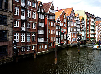 Altstadt, Hamburg - Nikolaifleet, one of a few remaining canals in Hamburg-Altstadt