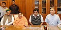 Nitin Gadkari and the Ministers of State for Water Resources, River Development and Ganga Rejuvenation, Shri Arjun Ram Meghwal and Dr. Satya Pal Singh assumed the charge of their portfolios.jpg