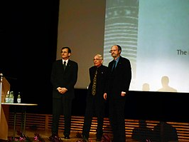 Nobel Laureates in Chemistry 2005 on stage (restored).jpg