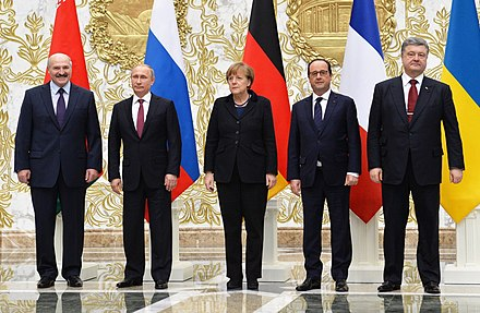 Leaders of Belarus, Russia, Germany, France, and Ukraine at the Minsk II summit, 2015 Normandy format talks in Minsk (February 2015) 03 cropped.jpeg