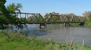 National Register of Historic Places listings in Valley County, Nebraska - Image: North Loup bridge (806 Rd) from SW 2