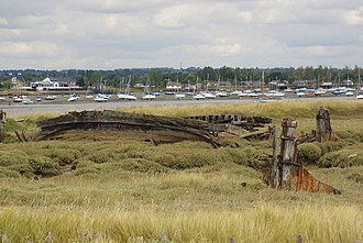 Northey Island - The remains of a pair of Thames barges on Northey Island