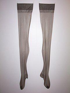 Stocking Hosiery that covers the feet and legs to the knee or higher