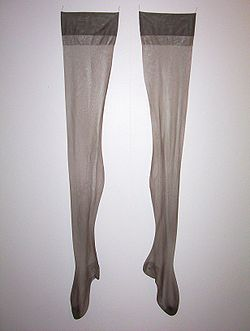 d5daa18a0 Nylonstockings.jpg. A pair of dark grey nylon stockings.