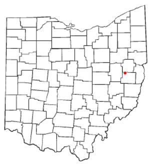 Bowerston, Ohio - Image: OH Map doton Bowerston