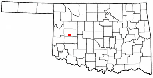 Clinton, Oklahoma - Image: OK Map doton Clinton
