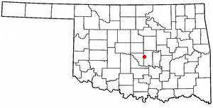 Pink, Oklahoma - Image: OK Map doton Pink