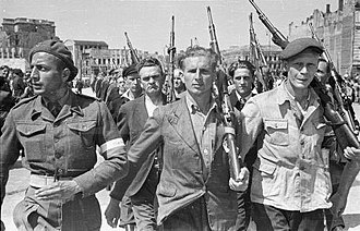 History of Poland (1945–1989) - ORMO paramilitary police unit during street parade at the Victory Square, June 9, 1946, Warsaw
