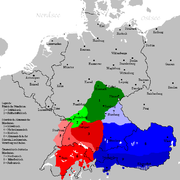 Bavarian (blue), Franconian (green) and Alemannic German (red colour)