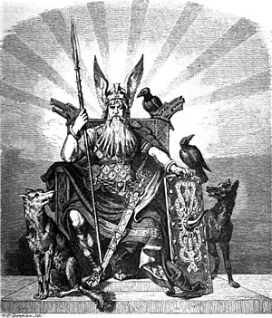 Geri and Freki - The god Odin enthroned and flanked by the wolves Geri and Freki and the ravens Huginn and Muninn  as illustrated (1882) by Carl Emil Doepler.