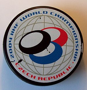 2004 Men's World Ice Hockey Championships - Image: Official puck IIHF 2004