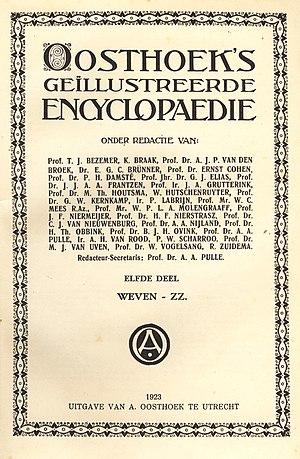Oosthoek (encyclopedia) - Frontispiece of the first edition of Oosthoek's Geïllustreerde Encyclopaedie (1923)