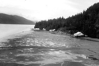 Orca Inlet - Uplifted land after the 1964 earthquake; boathouses and canneries left high and dry at high tide -USGS photo