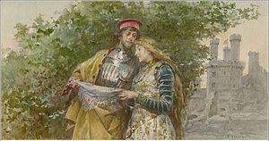 Michael Cassio - With Bianca. Drawing by Ludovico Marchetti