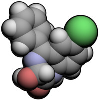 Spacefill model of a minor tautomer of oxazepam ((3S)-3-hydroxy)