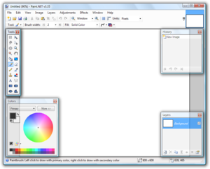 Palette window - The default paint.net interface makes use of palette windows.