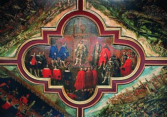 Treaty of Stuhmsdorf - Treaty of Stuhmsdorf, wall painting from Kielce castle. Visible: bishop and chancellor Jakub Zadzik, Polish king Władysław IV and Hetman Stanisław Koniecpolski.