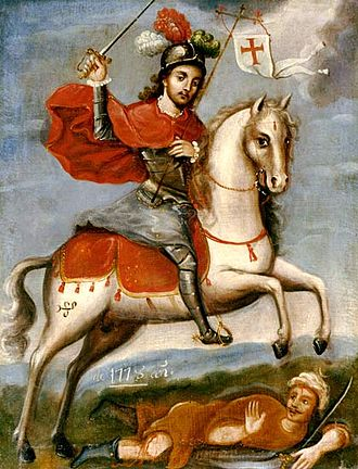 Saint James the Great depicted as Saint James the Moor-slayer. Legend of the Reconquista Painting of Santiago Matamoros.jpg