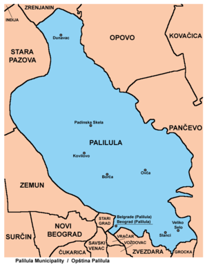 Palilula, Belgrade - Map of Palilula municipality