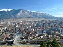Panorama of Dupnitsa and Rila Mountain, Bulgaria.jpg