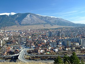Panorama of Dupnitsa and Rila Mountain, Bulgaria.jpg