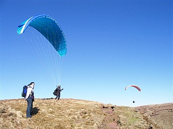 English: Paragliders on Graig Fan Las There we...